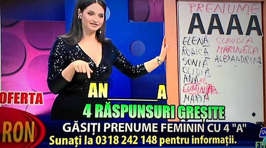 """""""Găsiți prenumele feminin cu 4 de A"""". Ce a pățit o româncă după ce a sunat la 1204 și a vrut să dea răspunsul corect la concursul live de la Etno TV"""