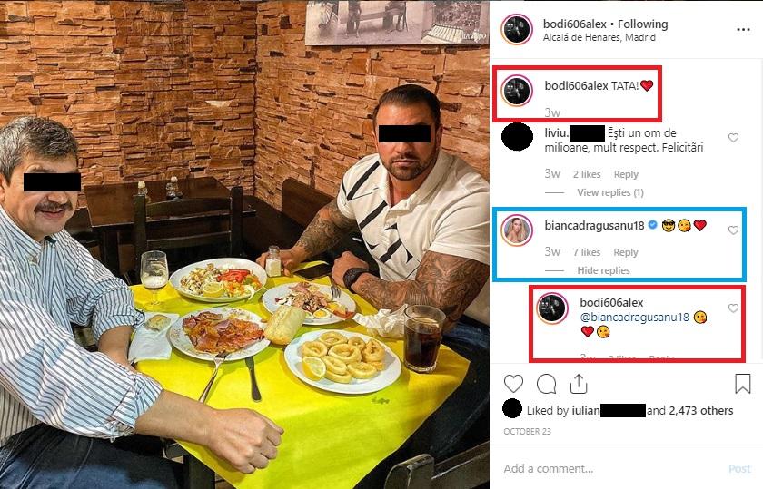 Socrul și soțul Biancăi Drăgușanu, la un restaurant din Madrid © Instagram