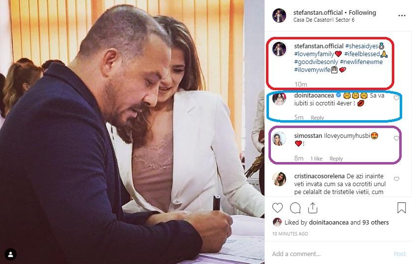 Prima poză făcută publică de Ștefan Stan de la cununia lui cu femeie iubită, Simona © Instagram