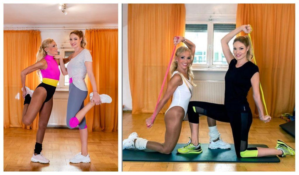 Antrenoarea de fitness Luminița Nicolescu și Valentina Pelinel, în timpul unor exerciții făcute în această dimineață © Facebook/Instagram