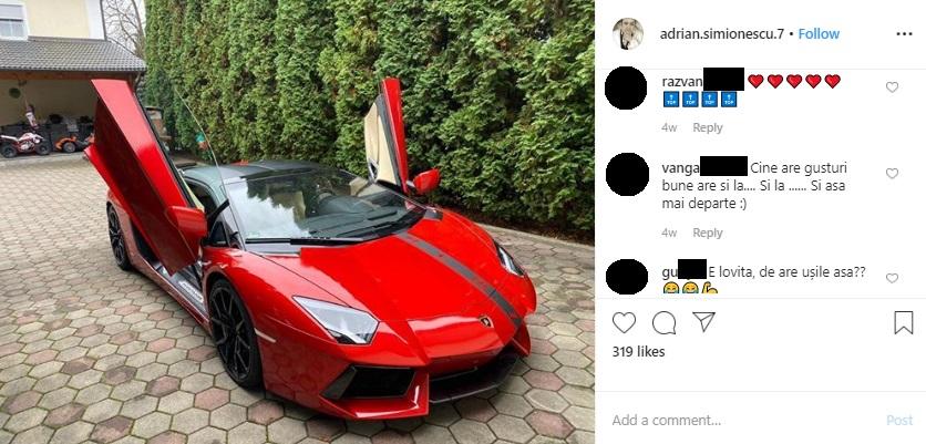 Adrian Minune și-a luat un Lamborghini Aventador Coupè, pe care a dat 400.000 de euro © Instagram