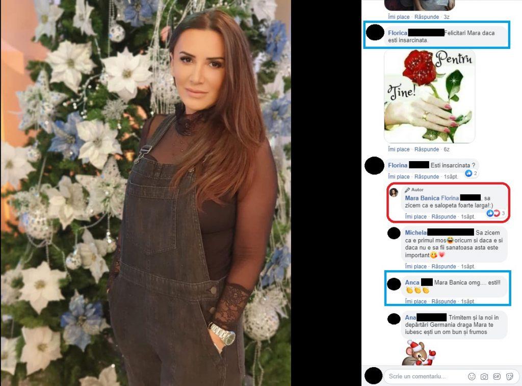 Mara Bănică a răspuns uneia dintre numeroasele fane care au întrebat-o dacă este gravidă © Facebook