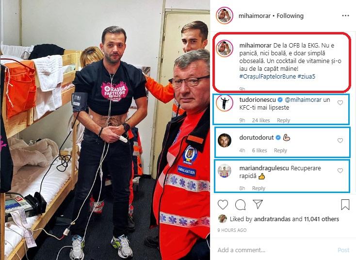 Azi-noapte, Mihai Morar s-a simțit rău și a sunat la 112, iar medicii sosiți în urma apelului i-au acordat îngriri © Instagram