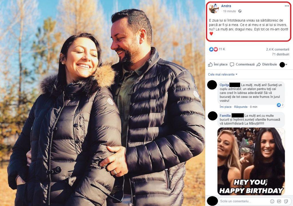 Andra a postat un mesaj emoționant pentru Cătălin Măruță cu ocazia zilei lui de naștere © Facebook