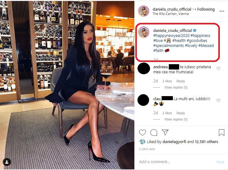 Daniela Crudu, într-o rochie sexy și provocatoare la petrecerea pentru Revelionul lui 2020 © Instagram