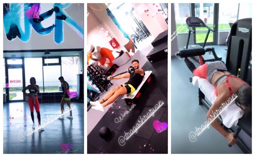 Laurette și Dragoș Stanciu s-au antrenat ieri împreună la o sală de fițe din București © Instagram Stories