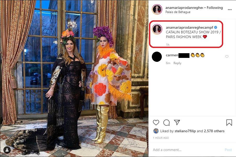 Anamaria Prodan și fiica sa, Rebecca Dumitrescu, îmbrăcate în creații semnate de Cătălin Botezatu © Instagram