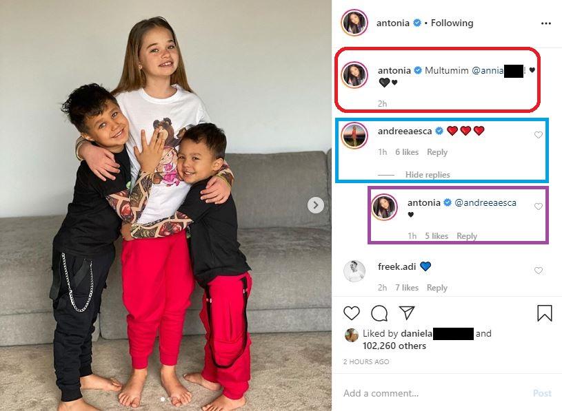 Andreea Esca a avut o reacție emoționantă când a văzut această poză de album cu cei trei copii ai artistei Antonia © Instagram
