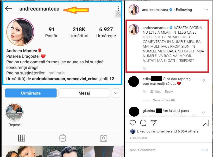 Andreea Mantea a făcut apel la apropiați și fani să dea report acestui cont fals făcut cu numele ei © Instagram