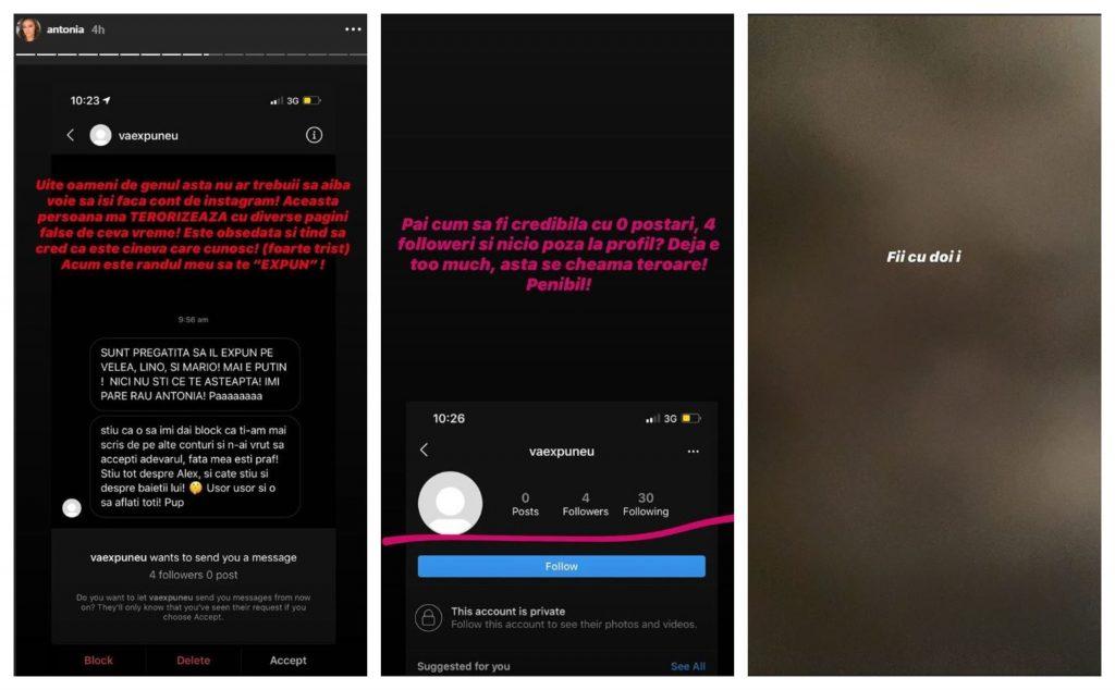 Antonia a răbufnit azi la adresa unei femei care îi spune prin mesaje că urmează să publice ceva compromițător cu Alex Velea, Lino Golden și Mario Fresh © Instagram Stories