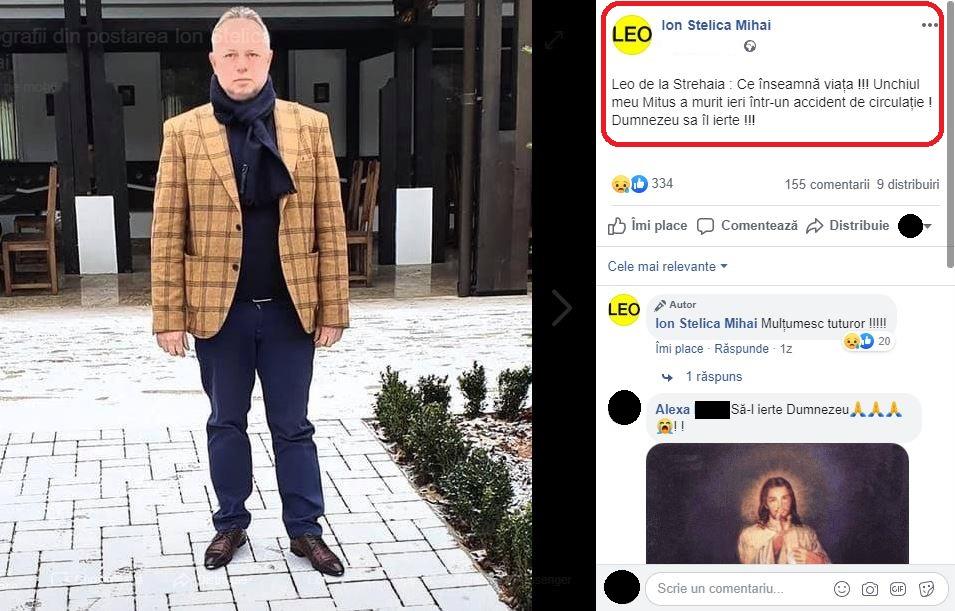 Leo de la Strehaia a transmis un mesaj emoționant la o zi de la moartea unchiului său © Facebook