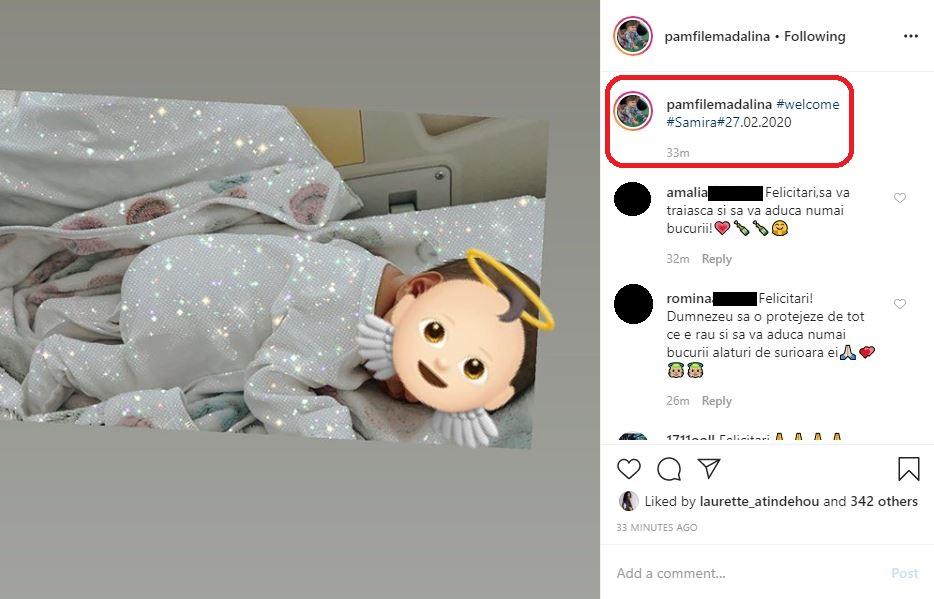 Mădălina Pamfile a devenit astăzi mămică pentru a doua oară © Instagram