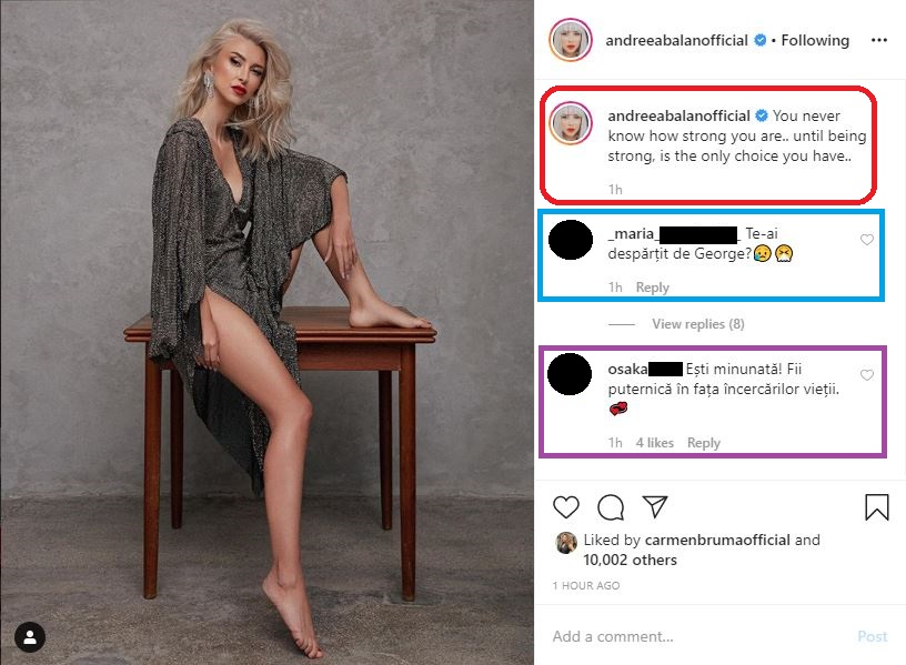 Aceasta este prima postare a Andreei Bălan după ce CANCAN.RO, site-ul nr. 1 din România, a publicat înregistrarea cu George Burcea care s-a îmbrățișat cu o altă femeie © Instagram