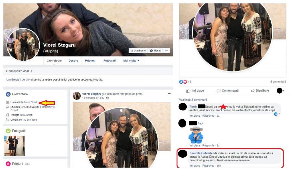"""Mai mulți internauți i-au criticat pe Vulpița și soțul ei, după ce au scris pe contul lor de pe cea mai puternică reţea socială la nivel mondial că lucrează la """"Acces Direct"""" © Facebook"""