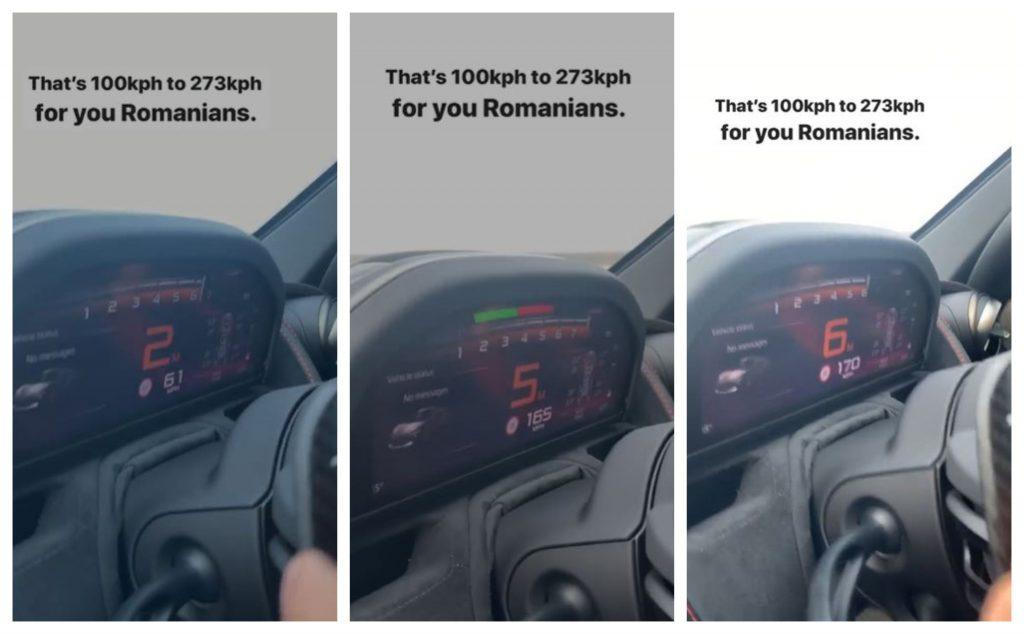 Andrew Tate, filmat în timp ce își conduce autoturismul marca McLaren 720 S cu peste 270 km/h © Instagram Stories