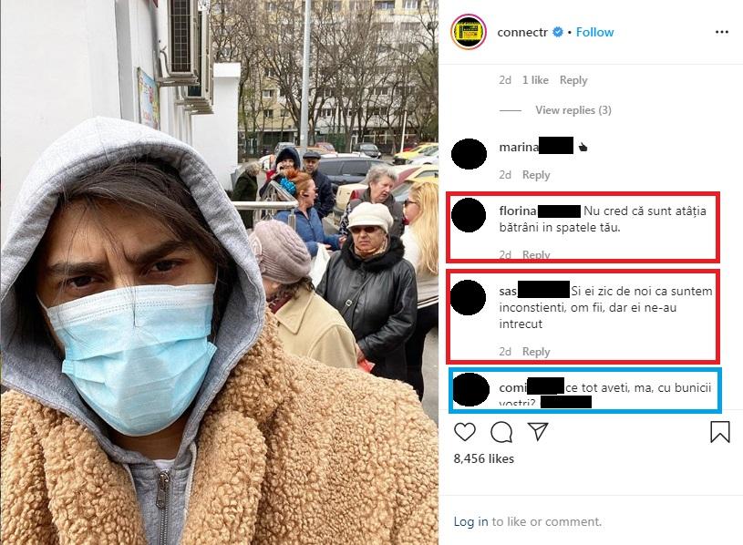 Connect-R, revoltat de inconştienţa unor bătrâni cu care s-a intersectat la un magazin © Instagram