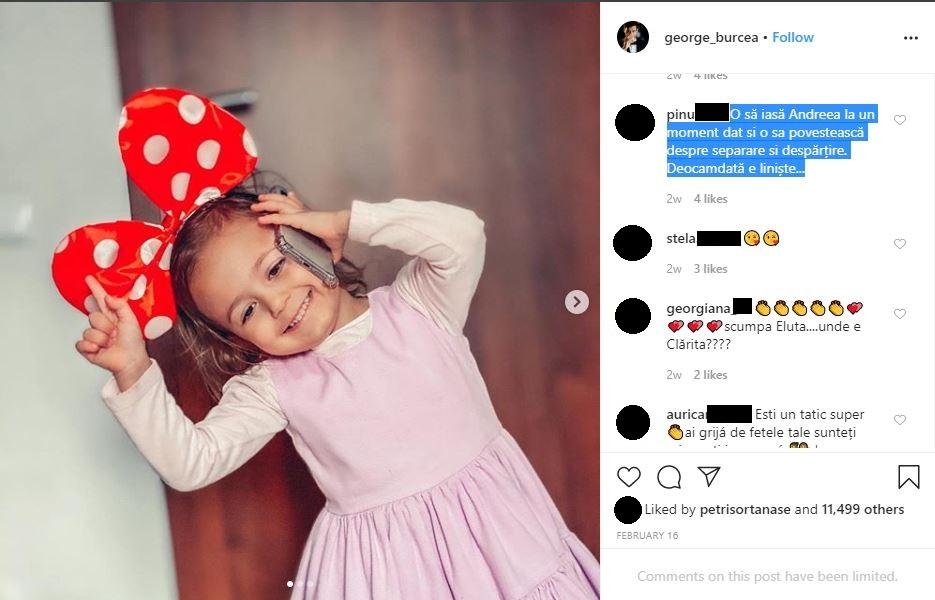 Aceasta este una dintre postările la care George Burcea a primit comentarii dure © Instagram