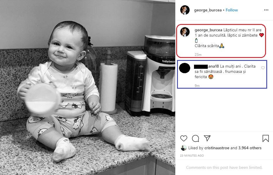 Aceasta este a doua urare pe care George Burcea a făcut-o pentru micuța Clara © Instagram