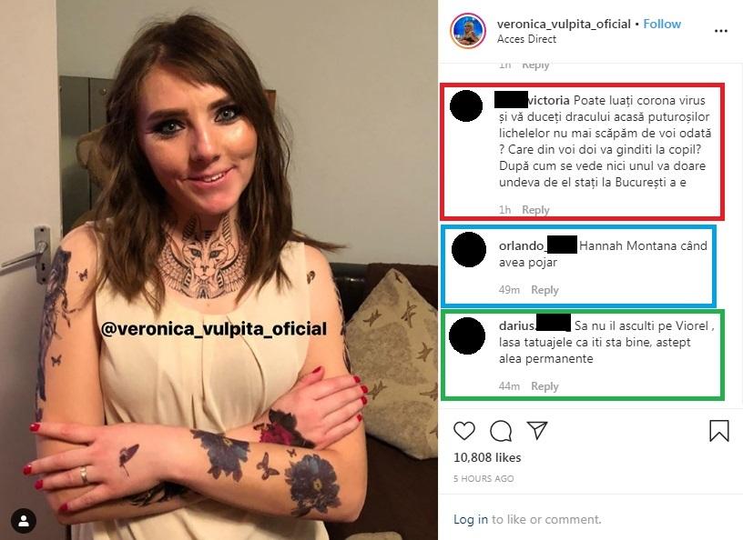 Vulpiţa a primit astăzi un comentariu negativ de la un internaut în legătură cu infectarea cu noul coronavirus © Instagram