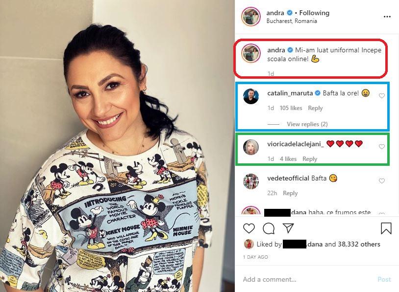 Andra a făcut o postare haioasă după ce s-a anunțat oficial începerea școlii online, iar soțul ei i-a lăsat un comentariu pe măsură © Instagram