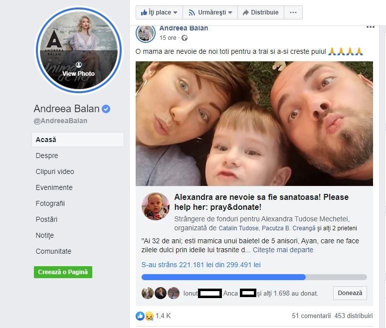 Andreea Bălan, apel emoționant pentru salvarea Alexandrei Tudose, o tânără mămică diagnosticată cu o boală teribilă © Facebook