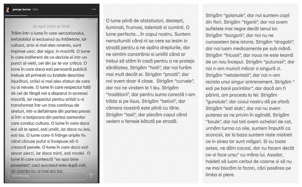 George Burcea, mesaj tranșant după scandalul cu Andreea Bălan de Paște © Instagram Stories