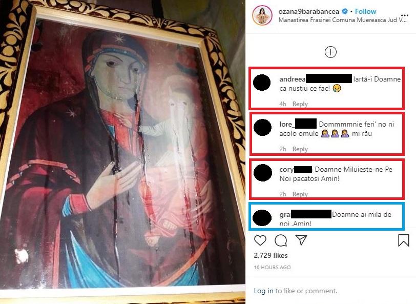 Ozana Barabancea a postat o poză făcută la icoana Maicii Domnului cu Pruncul Iisus Hristos de la Mănăstirea Frăsinei în care se pot vedea lacrimile scurse © Instagram