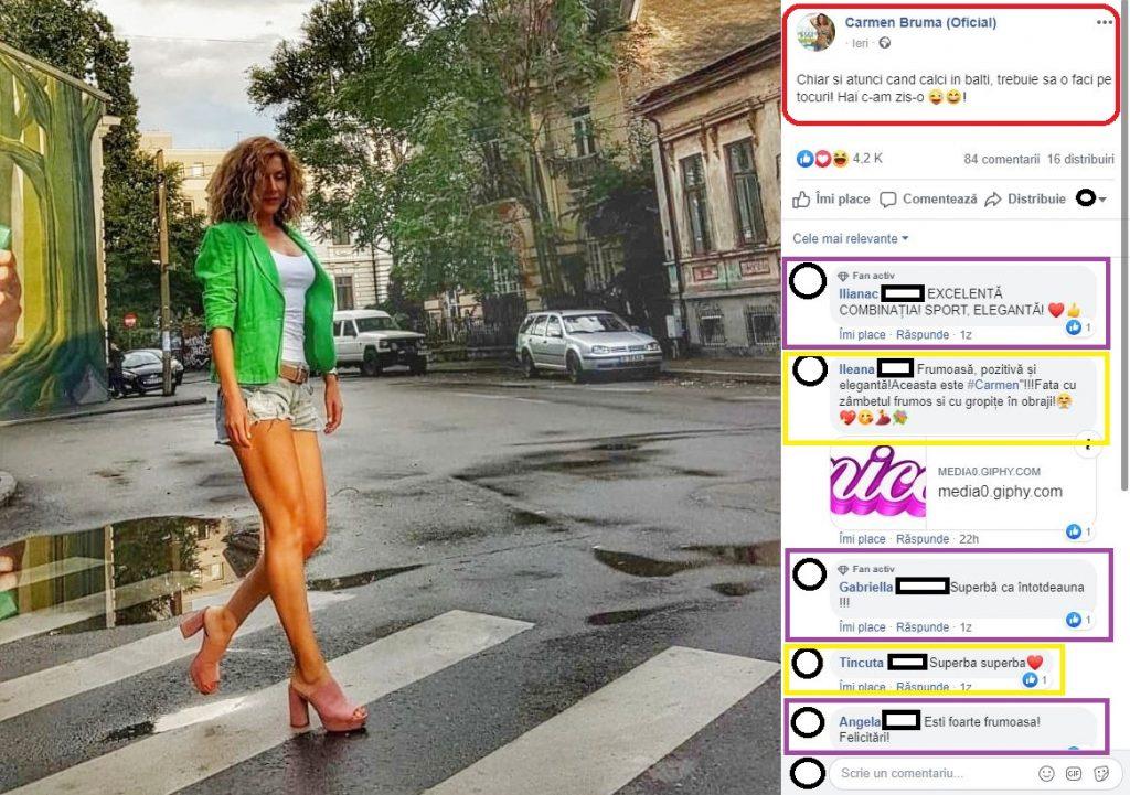 Carmen Brumă, apariția HOT pe o stradă din București © Facebook