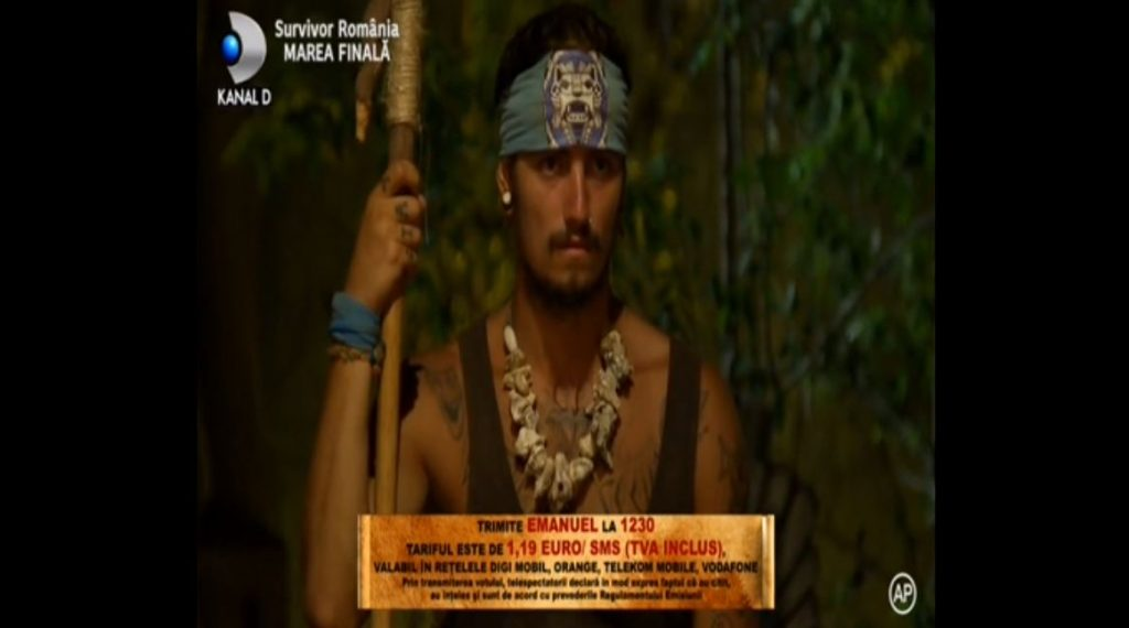"""Dacă vreți ca Emanuel Neagu să câștige primul sezon al emisiunii """"Survivor România"""", trimiteți textul """"Emanuel"""" la 1230 © Kanal D"""