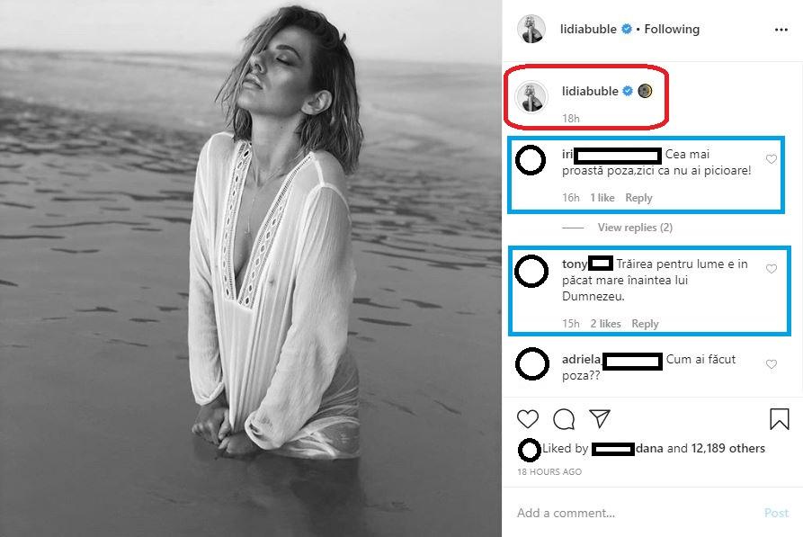 Lidia Buble s-a lăsat fotografiată în ipostaze incitante în timp ce era în apa mării, la lumina caldă a lunii © Instagram