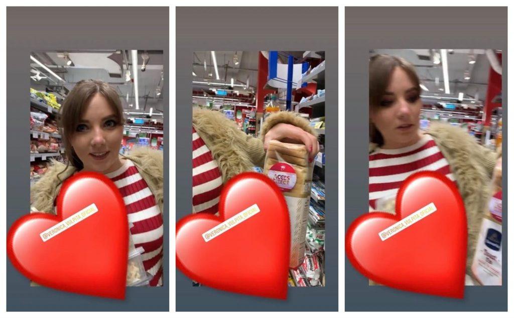 Veronica Stegaru, cu haină de blană într-un supermarket din Capitală © Instagram Stories