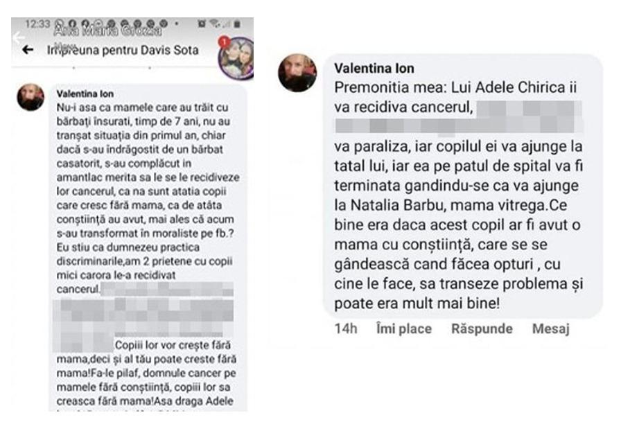 O mică parte din mesajele care au îngtozit-o pe Adela Chirică