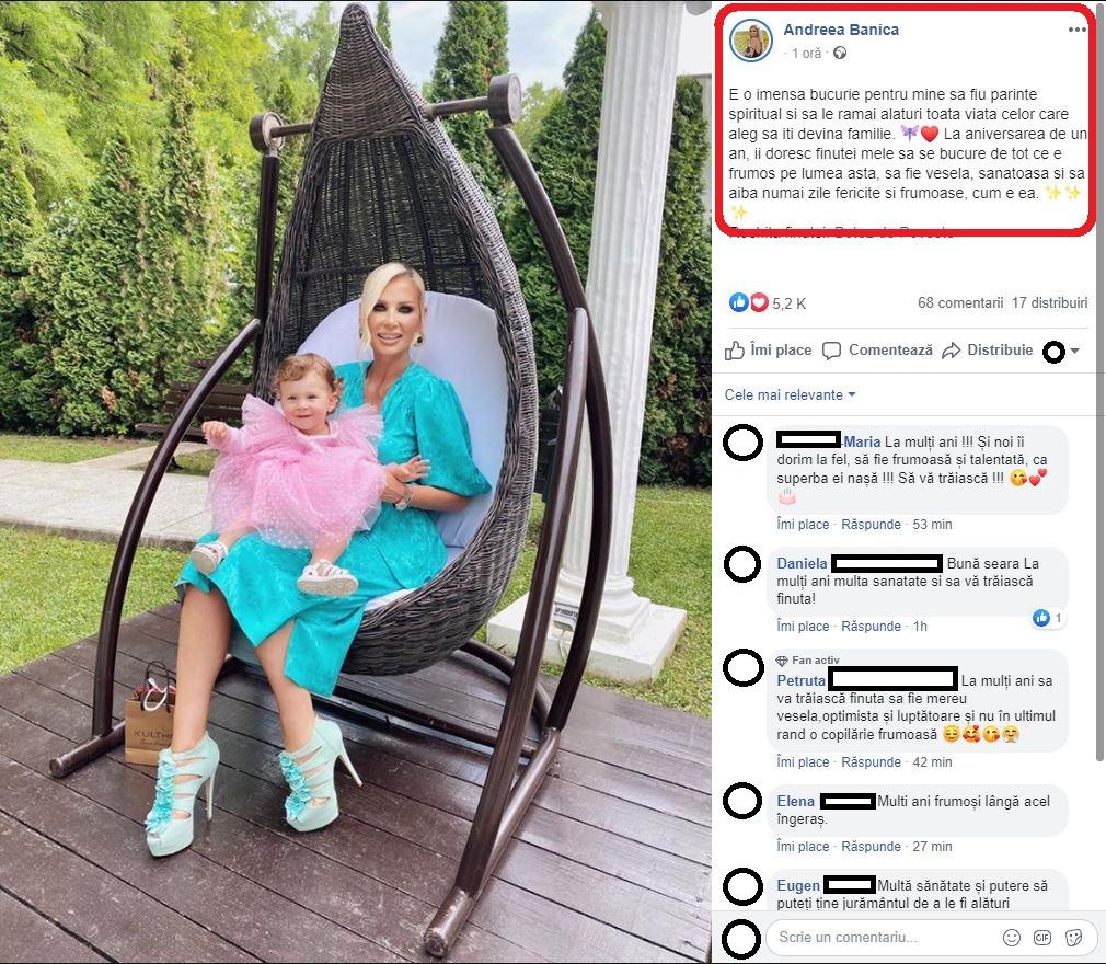 Andreea Bănică, asaltată de mesaje frumoase după ce a anunțat că a botezat o fetiță împreună cu soțul său, Lucian Mitrea © Facebook