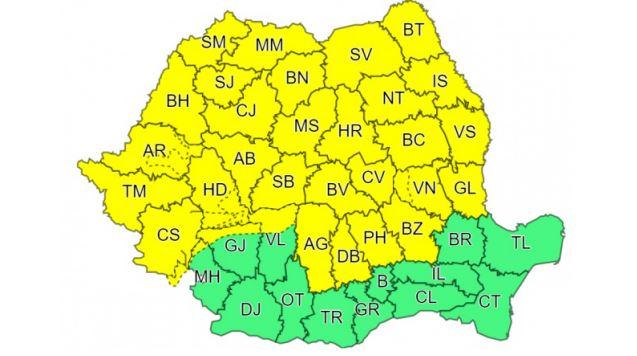 Pentru perioada 29 iunie, ora 10:00 – 30 iunie, ora 10:00 a fost emisă o atenționare meteorologică de cod galben de ploi © meteoromania.ro