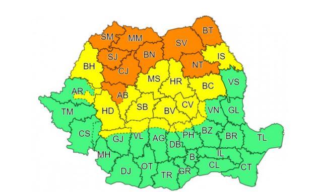 Meteorologii au anunțat azi și mâine cod galben și portocaliu de ploi în unele zone ale țării © meteoromania.ro