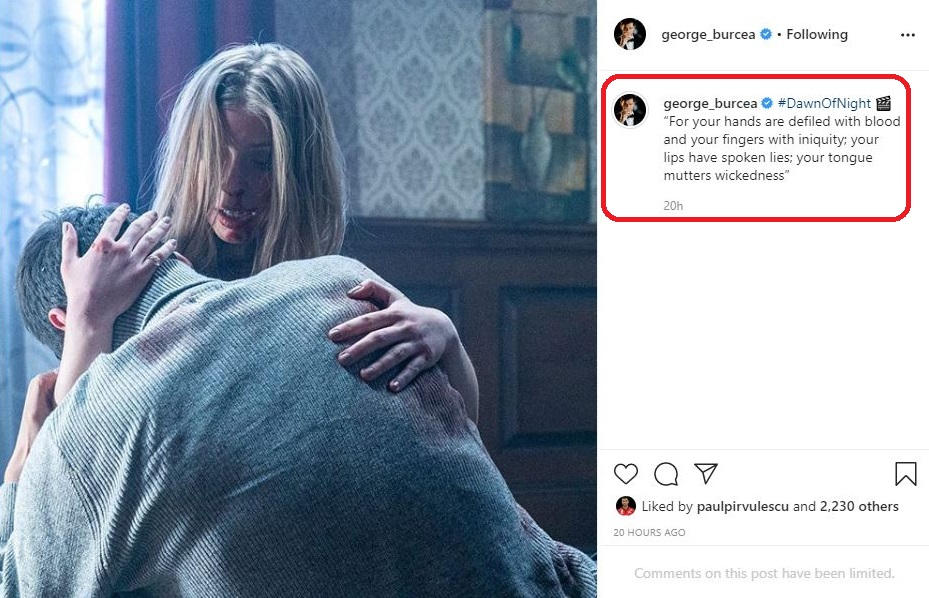 """Actorul George Burcea, în timpul filmărilor pentru pelicula """"DawnOfNight"""" © Instagram"""