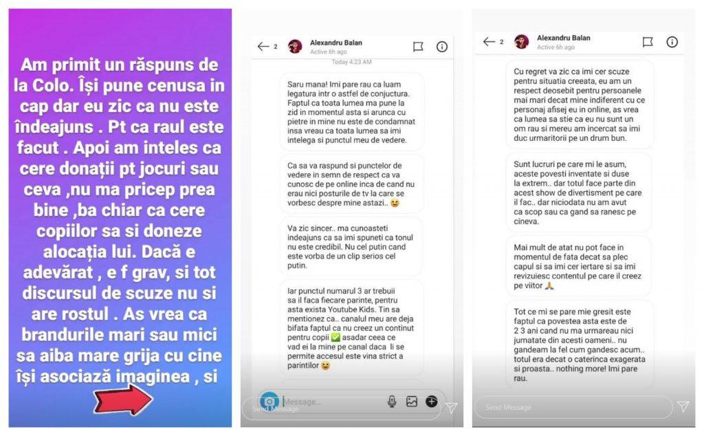Oana Roman a făcut public răspunsul primit în privat de la tânărul vlogger, Alexandru Bălan © Instagram Stories