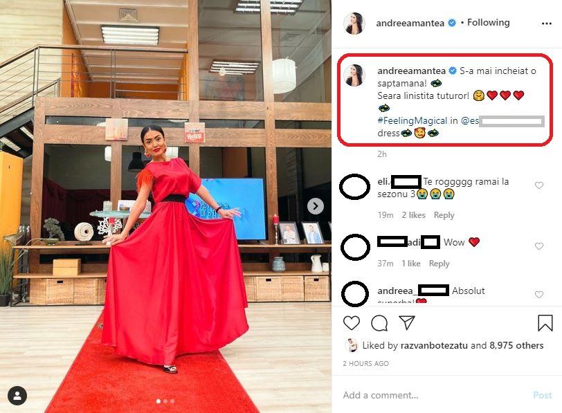 """Andreea Mantea nu va mai prezenta al treilea sezon al emisiunii """"Puterea Dragostei"""" de la Kanal D © Instagram"""