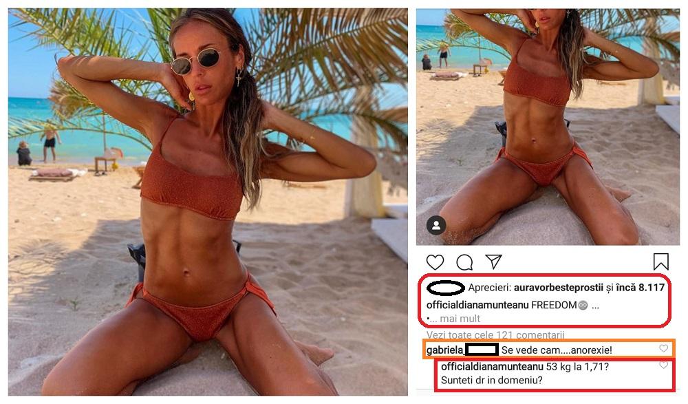 Diana Munteanu și-a speriat unii dintre fanii care au văzut această fotografie cu ea pe plajă, purtând un costum de baie sexy © Instagram