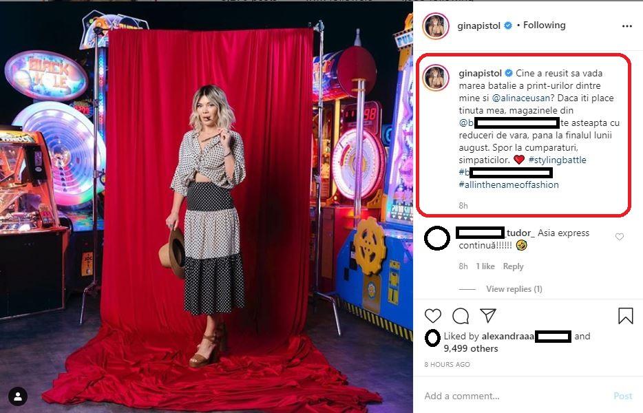 """Gina Pistol a filmat azi pentru emisiunea """"Chefi la Cuțite"""" și s-a duelat cu Alina Ceușan © Instagram"""
