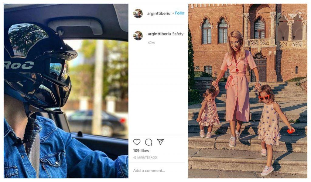 Tiberiu Argint și-a surprins fanii astăzi cu o poză în care poartă casca de motocicletă în timp ce este la volan. Tot azi, iubita lui, Andreea Bălan, și-a scos fetițele la o plimbare la Palatul Mogoșoaia © Instagram