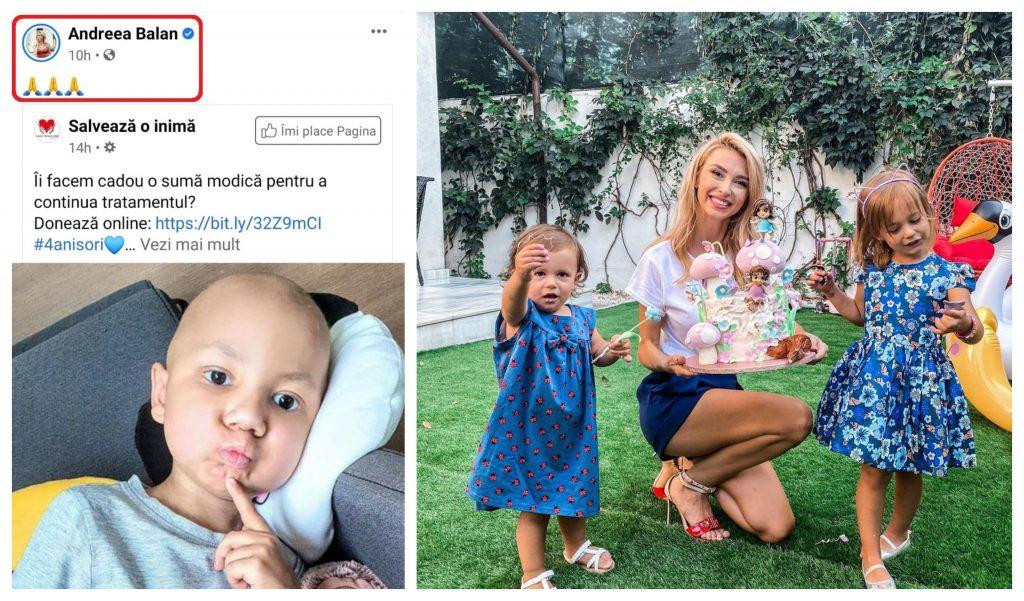Andreea Bălan s-a alăturat în lupta la viață a lui Darius Fileață, un băiețel diagnosticat cu o tumoră formată în creier. Iar în poza din dreapta colagului, artista este alături de fiicele sale © Facebook