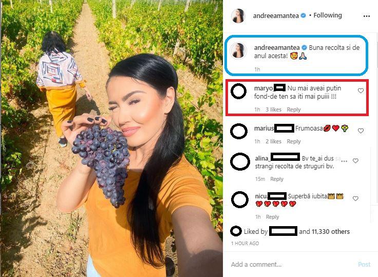 Aflată la cules de vie, Andreea Mantea a fost criticată pentru că s-ar fi machiat prea mult, susțin unii dintre internauți © Instagram