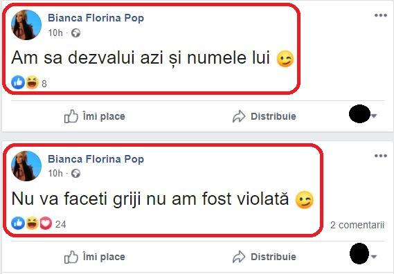Bianca Florina Pop a mărturisit azi într-o postare că nu a fost agresată sexual © Facebook