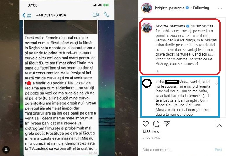 Brigitte a publicat unul dintre mesajele pe care Raluca Podea i le-a trimis de când sunt rivale © Instagram