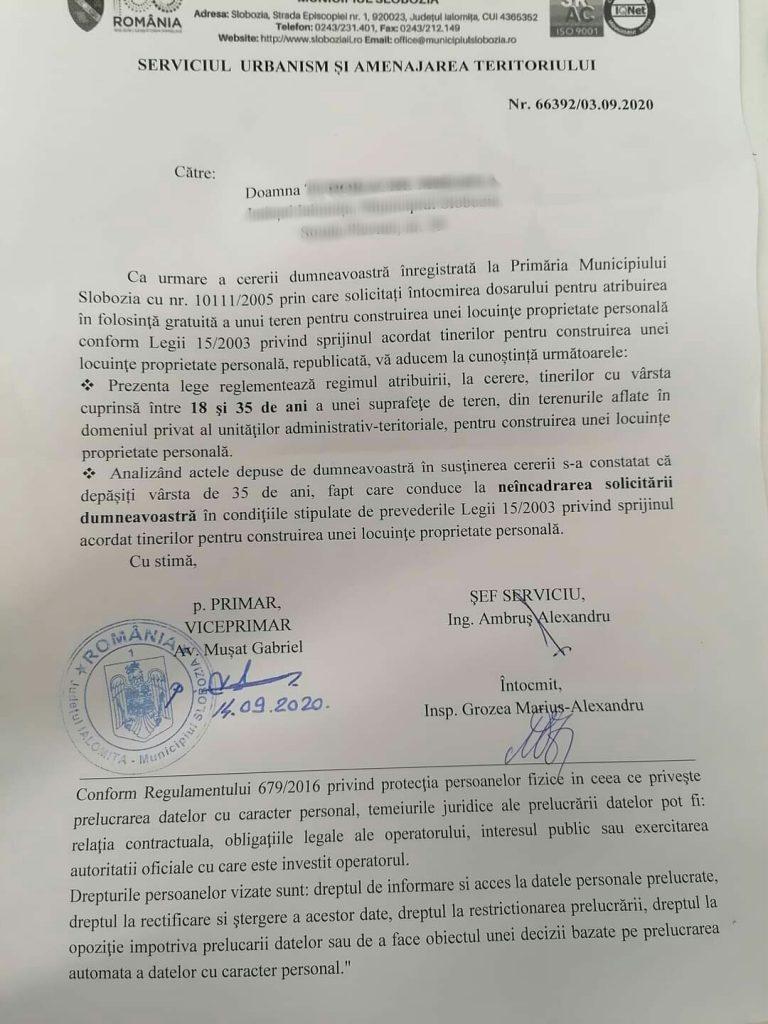 Răspunsul primit de la autorități de o femeie din Slobozia după 15 ani de când a depus solicitarea pentru construirea unei case