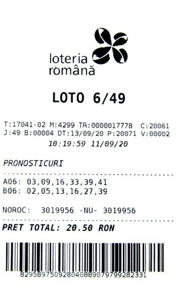 Biletul norocos a fost jucat la agenţia 17-041 din Tecuci, judeţul Galaţi şi a fost completat cu două variante simple la Loto 6/49, preţul biletului fiind de 20,50 lei