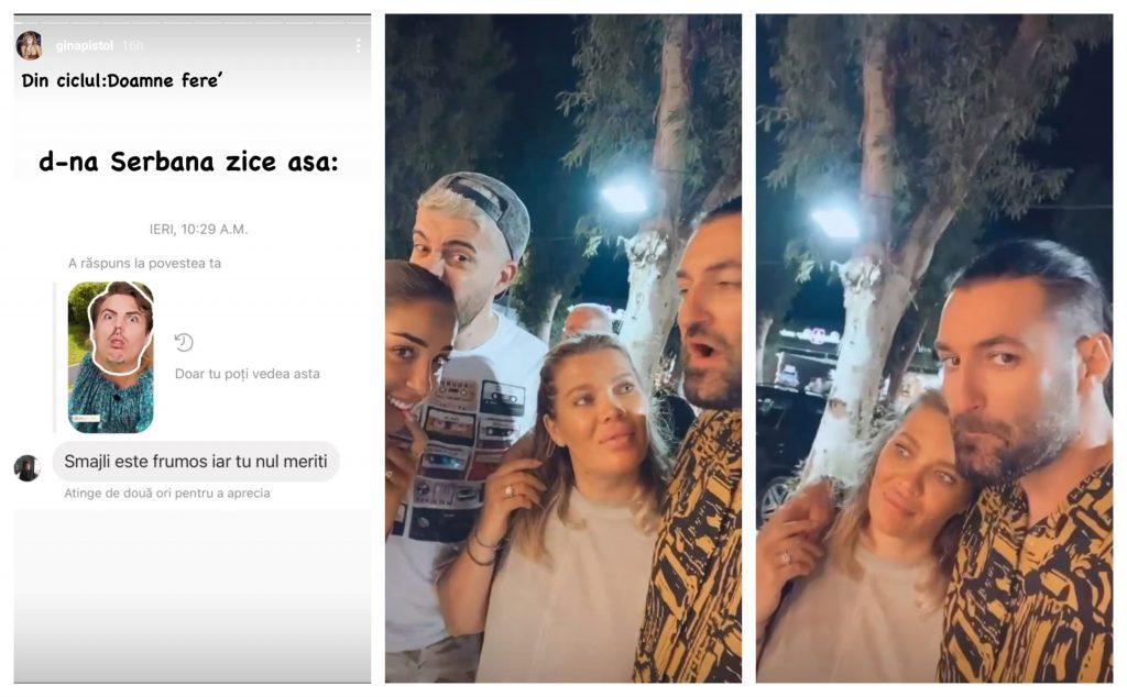 Aflată în vacanță împreună cu Ștefania, Speak și Smiley, Gina Pistol a primit un mesaj acid de la o femeie pe care a ales să-l facă public © Instagram Stories