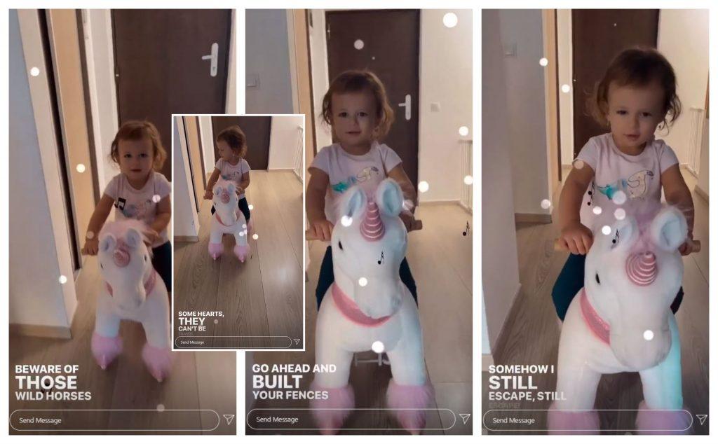 """Când a publicat o filmare cu fetița cea mică, Andreea Bălan a selectat anumite versuri din piesa """"Wild Horses"""", lansată de Antonia și Jay Sean © Instagram Stories"""