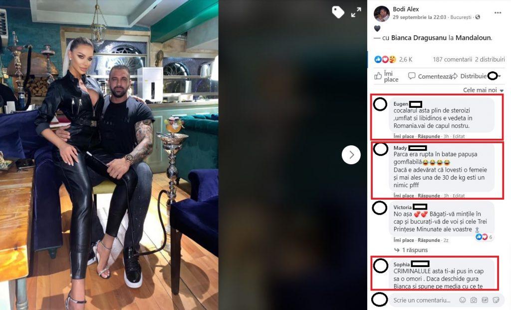 Alex Bodi, jignit în comentariile de la ultima postare făcută pe platforma de socializare fondată de Mark Zuckerberg © Facebook